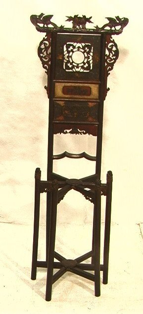 15: Asian Carved wood Wash Bowl Stand. Carved with ba