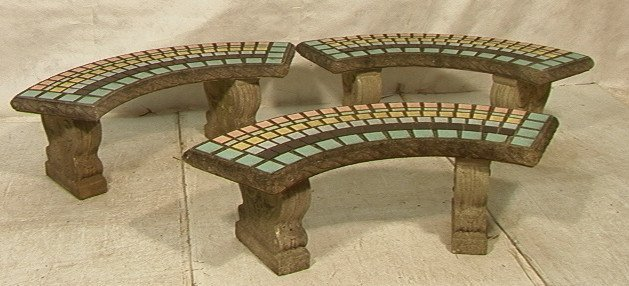29 3 concrete outdoor patio benches with inset tile