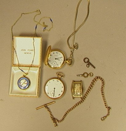137: 7pcs Watch Lot.  Jean Perret Enamel with Chain wi