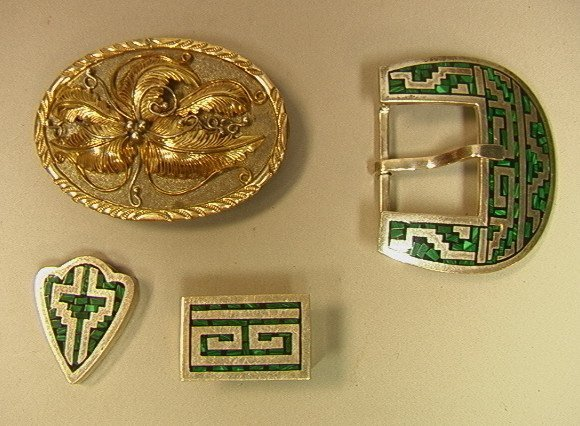 156: Sterling Buckles.  3pcs Sterling Set with inlaid