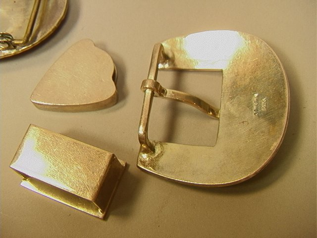156: Sterling Buckles.  3pcs Sterling Set with inlaid - 3