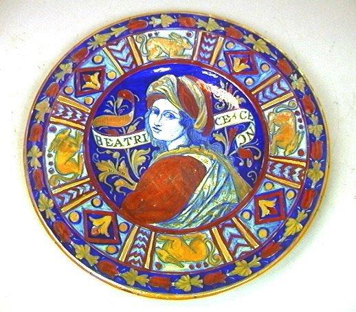276: Italian SA Faience Pottery Charger Plate.  Beatri