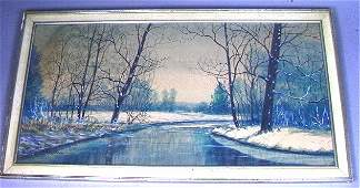 338 RAPHAEL SENSEMAN WATERCOLOR PAINTING  WINTER SCE