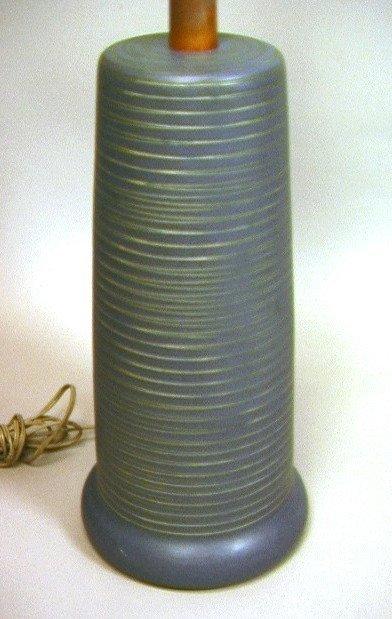 7: MARTZ Pottery Table Lamp with Teak Mounts. Incise