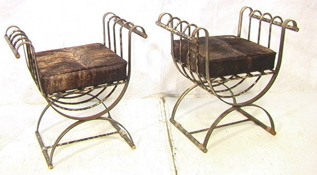 9: Pr Decorator Benches. Antiqued Gilt Wrought Iron.