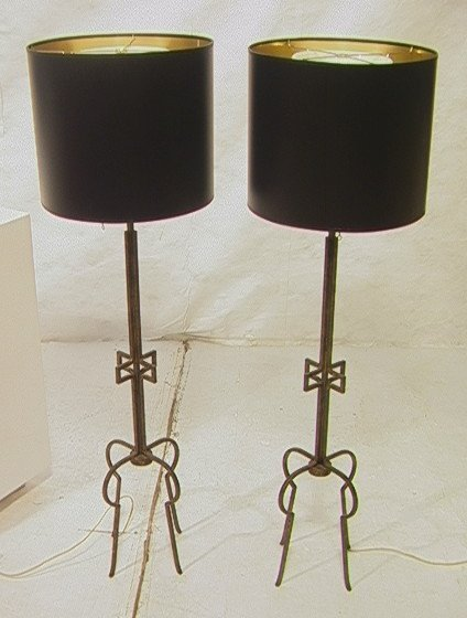 11: Pr TOMMI PARZINGER Tall Table Lamps. Gilded Iron
