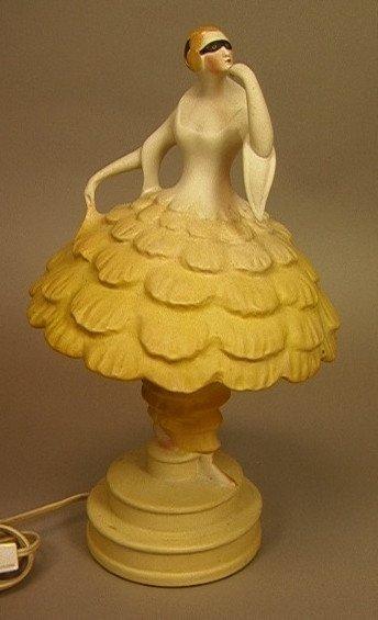 13: Art Deco Porcelain Figural Lamp. Shade is Masked