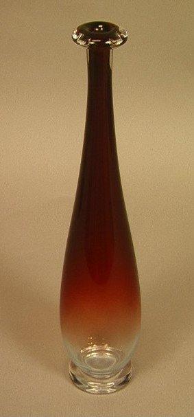 14: ORREFORS Tall Bottle Necked Vase. Reddish Clear b