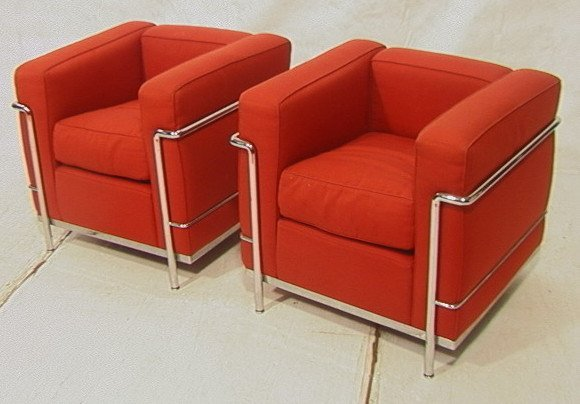 129: Pr CASSINA Chrome Chairs. Le Corbusier LC2 Model.