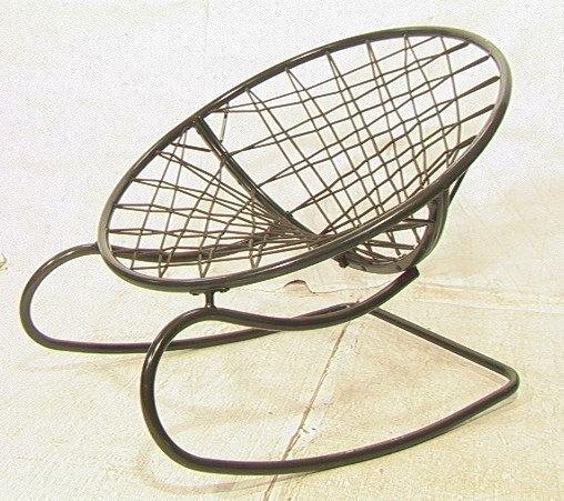 629: Green Bungee Cord Rocking Chair. Metal Circle Fra
