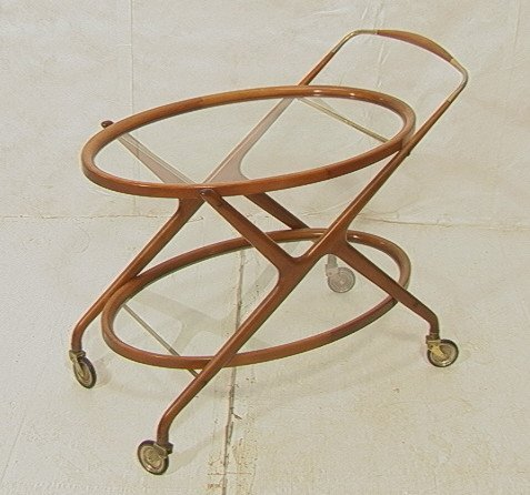 3: CESARE LACCA Italian Bar Cart. Wood and Brass Rol
