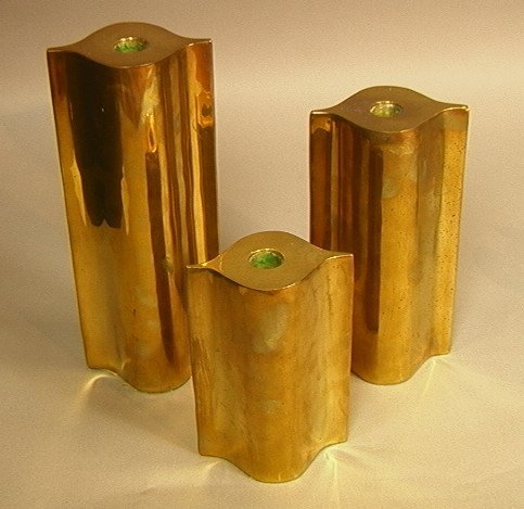 19: Set 3pc Brass Column Candleholders. Probably Ital