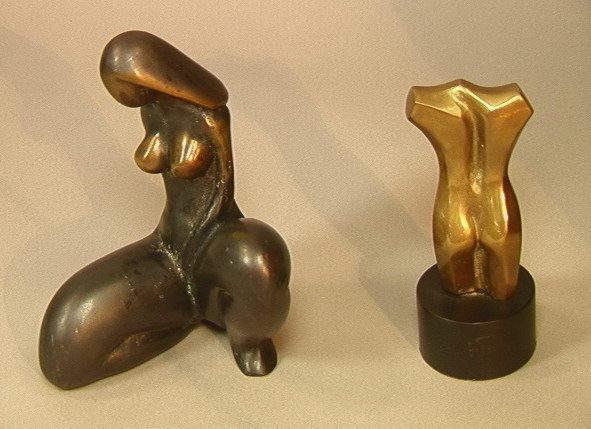 24: Two Nude Bronze Sculptures. Large Seated Female N