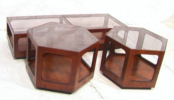 174: 3 pc American Modern LANE Coffee and End Tables.