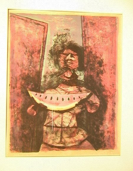 181: RUFINO TAMAYO Signed Print Woman with Watermelon.