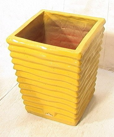 244: Large Eschbach Glazed  Ceramic Planter.  Square r