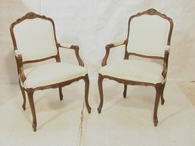 1: Pair French Carved Bergere Chairs.  Carved frames