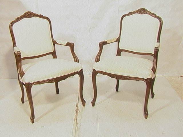 Pair French Carved Bergere Chairs Carved frames