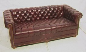 4: Leathercraft Chesterfield Tufted Sofa Couch.  Bur