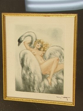 LOUIS ICART Color Etching Print On Rives Paper.