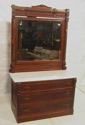 6: Antique Victorian Walnut Dresser with Marble Top