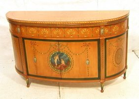 7: Edwardian Style Paint Decorated Cabinet Sideboard