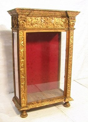 9: Antique Gilt Wood and Gesso Cabinet Display.  Gla