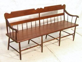 11: Antique Plank Seat Bench Settle.