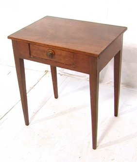 12: Antique Country One Drawer Stand.  Angled legs.