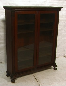 Mahogany Ball And Claw Bookcase Cabinet.  Glass D