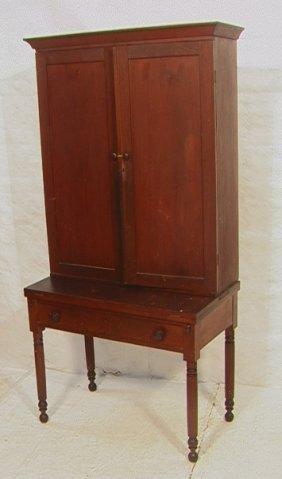 16: Antique Country Pine Blind Door Desk Cabinet.   T