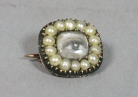 145: Antique Mourning Jewelry.  Painted Eye with seed