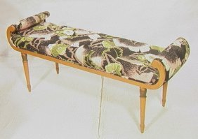 18: Decorator Bench with Rolled Arms.  Tapered turned