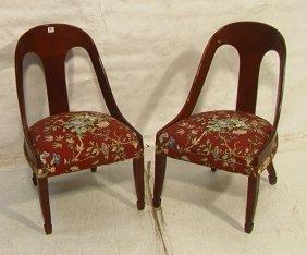 19: Pair Klismos Style Lounge Chairs.  Spoon backs.