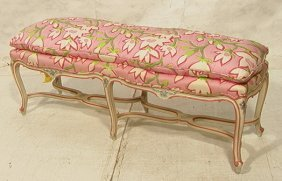 20: French Style Carved Long Bench.  Floral Upholster