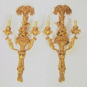 21: Pair Gilt Carved Wood Monkey Wall Sconces.  Doubl