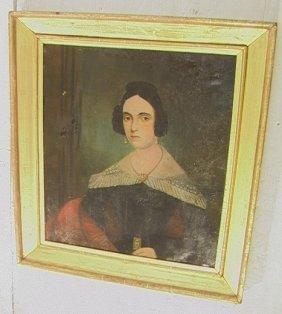 24: Antique Period Portrait Oil on Canvas Painting.