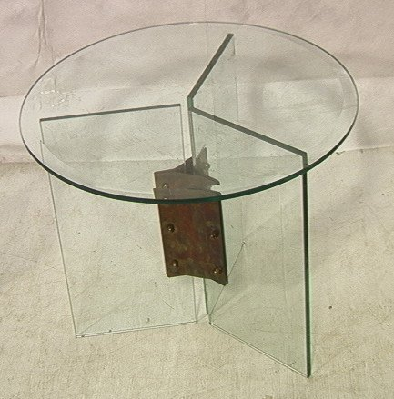 Small Round Glass Side Table. Three glass panel b