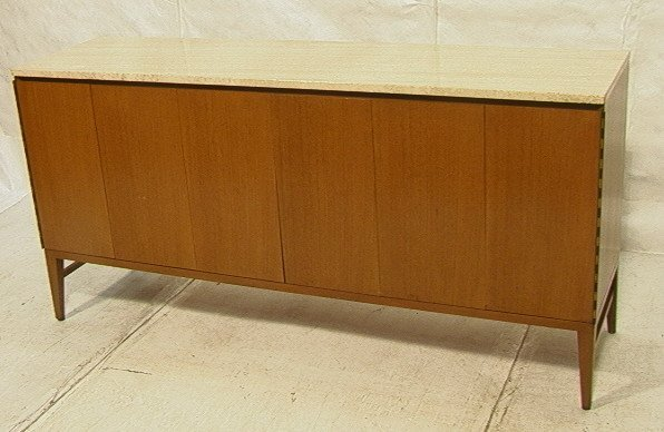 PAUL McCOBB Travertine Top Credenza Sideboard. Tw