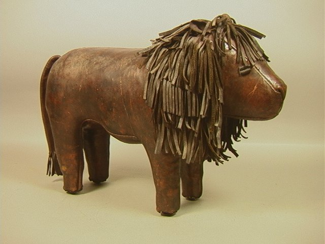 Leather Lion Sculpture. Great expressive leather