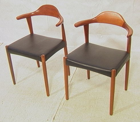 Pair HANS WEGNER Style Side Chairs.  Rosewood accents.
