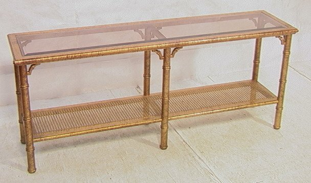 Decorator Gilt Metal Faux Bamboo Console Table. G
