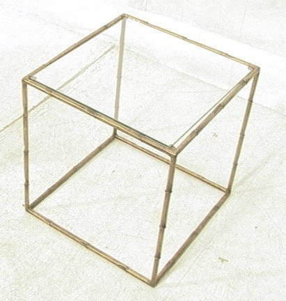 Bamboo Gilt Metal Glass Top Cube Side Table