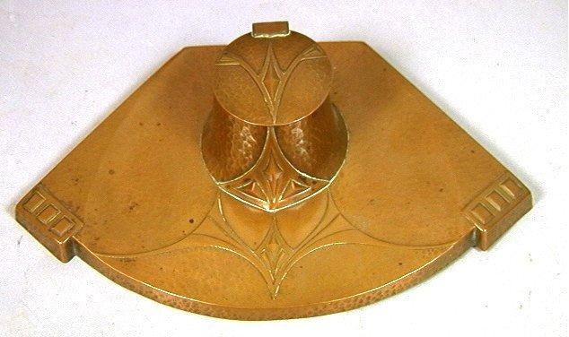 WMF Hammered Copper Art Nouveau Inkwell. Art Nouv