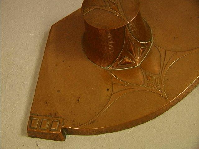 WMF Hammered Copper Art Nouveau Inkwell. Art Nouv - 2