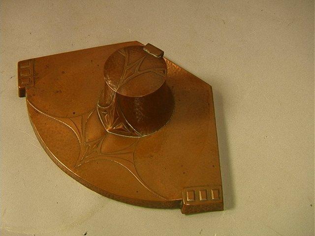 WMF Hammered Copper Art Nouveau Inkwell. Art Nouv - 3