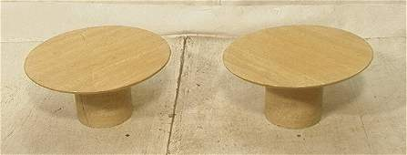 Pr Low Travertine Side Tables. Round beveled top