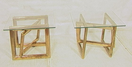 Pr Brass Glass Top Side End Tables. Base with thr
