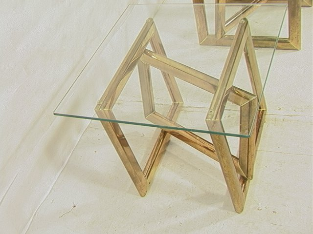 Pr Brass Glass Top Side End Tables. Base with thr - 2