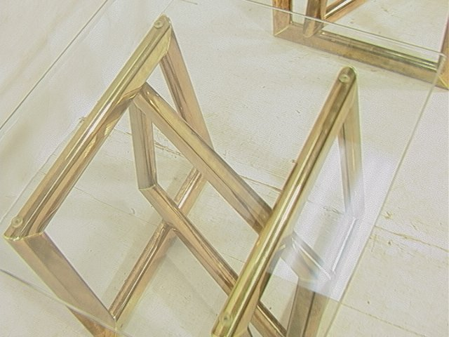 Pr Brass Glass Top Side End Tables. Base with thr - 3